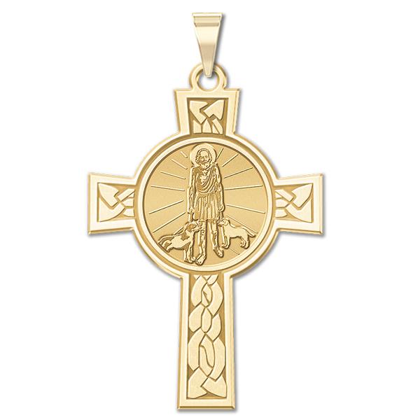 115831ab700 Saint Lazarus Cross Religious Medal